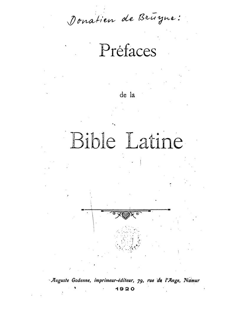 Préfaces de la Bible latine