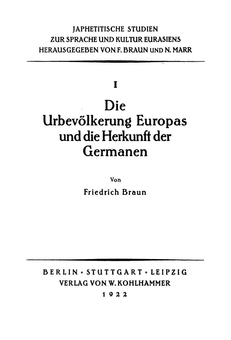 Die Urbevölkerung Europas und die Herkunft der Germanen