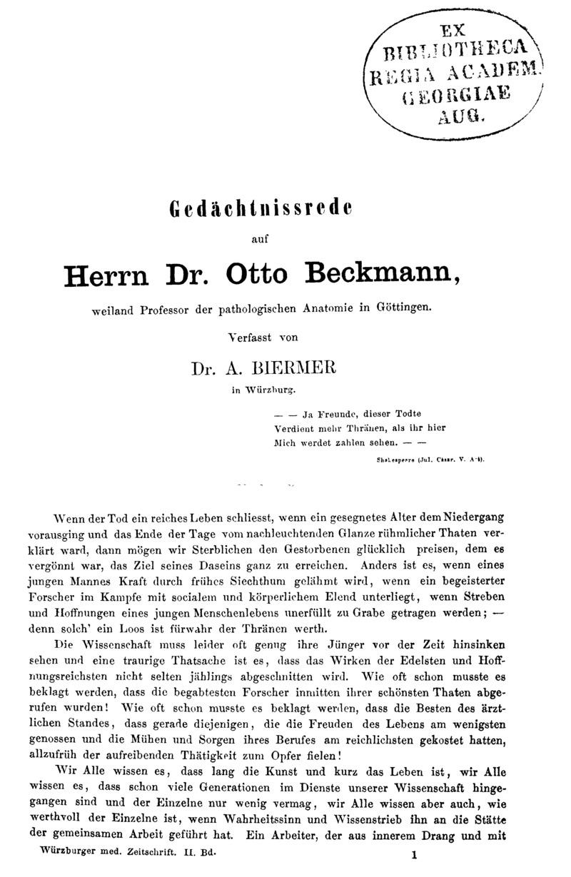 Gedächtnissrede auf Herrn Dr. Otto Beckmann