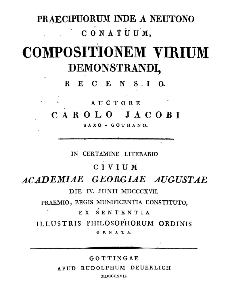Praecipuorum inde a Neutono conatuum, compositionem virium demonstrandi recensio