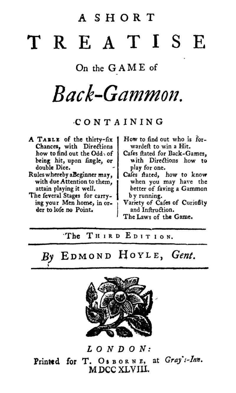A short treatise on the game of back-gammon