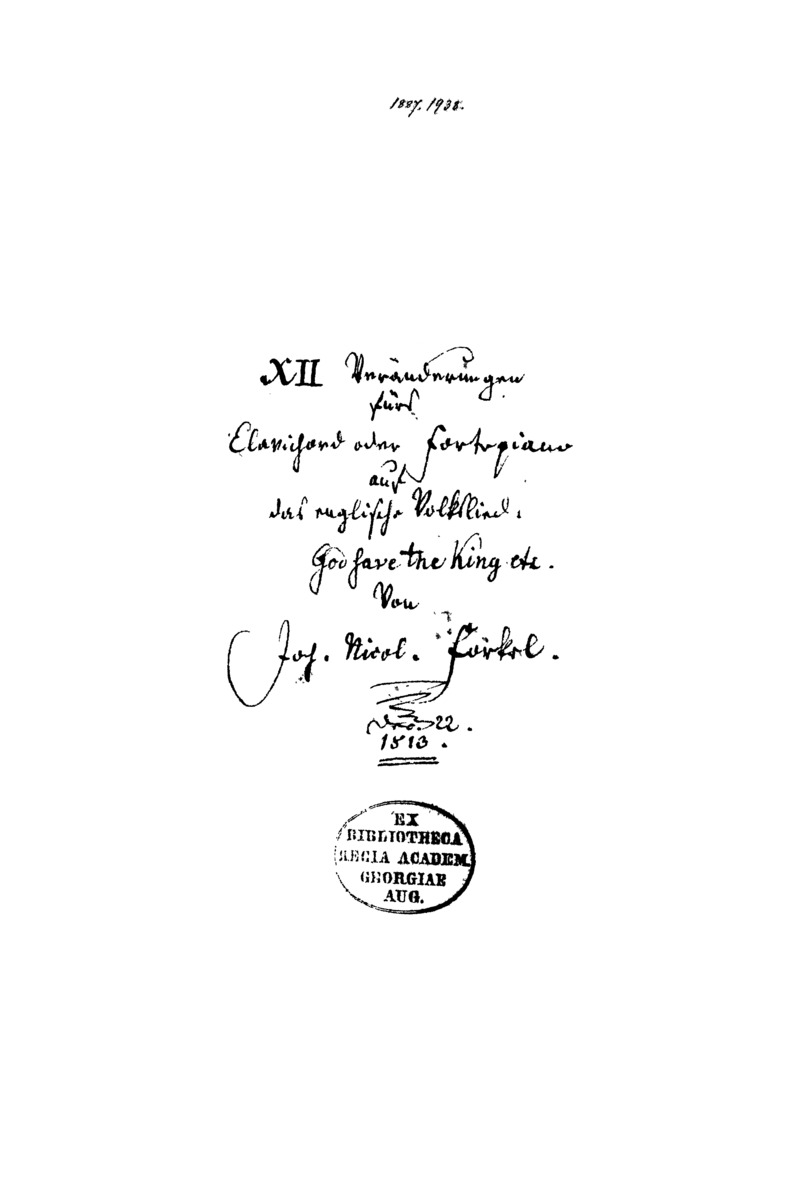 XII Veränderungen fürs Clavichord oder Fortepiano auf das englische Volkslied: God save the king