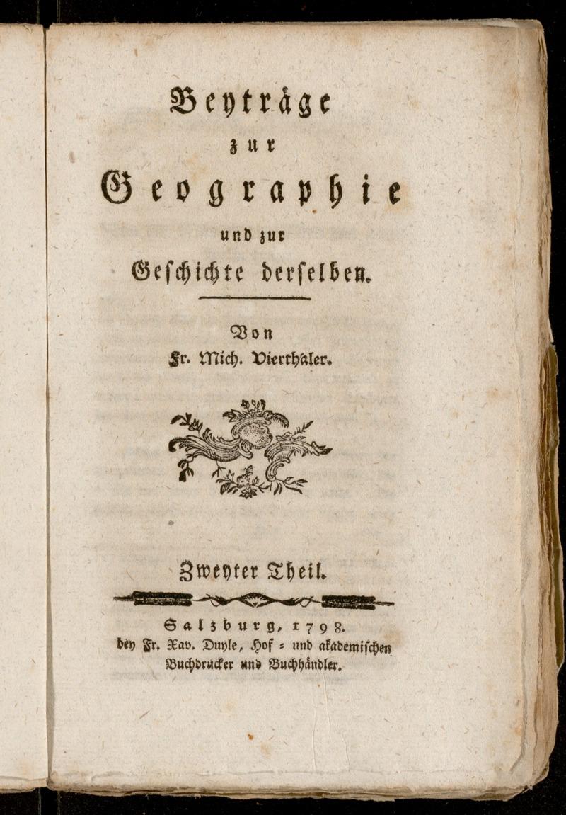 Beyträge zur Geographie und zur Geschichte derselben