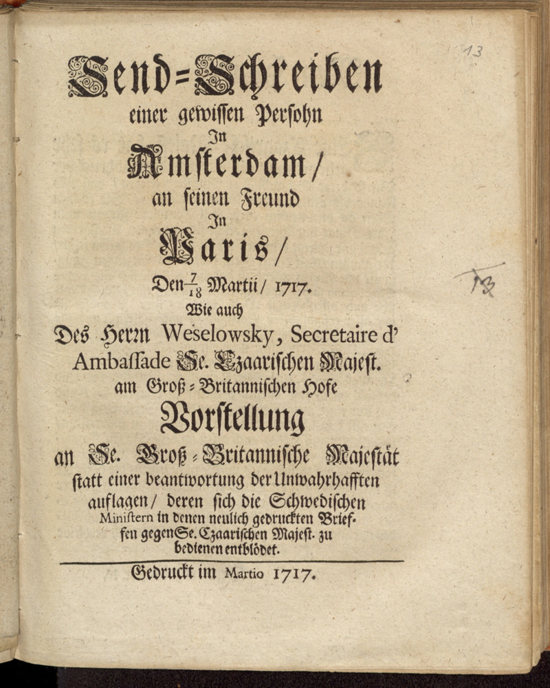 Send-Schreiben einer gewissen Persohn In Amsterdam/ an seinen Freund In Paris/ Den 7/18 Martii/ 1717